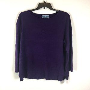 Karen Scott Lux Crew Purple Dynasty Sweater